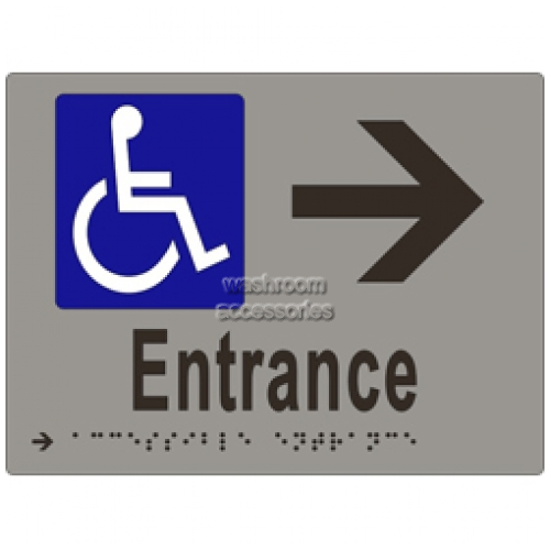 View ML16235 Braille Sign, Accessible Entrance and Arrow details.
