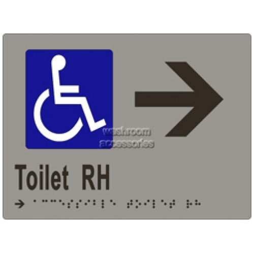 View ML16273 Braille Sign, Accessible Toilets RH Transfer and Arrow details.