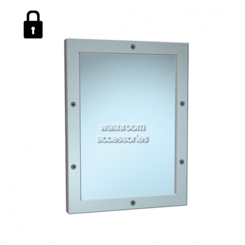 View 105-14 Steel Mirror with Frame, Vandal Resistant, Front Mounting details.