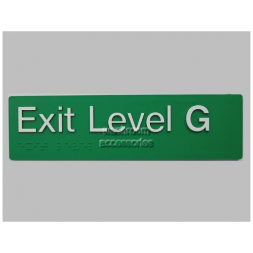 View EG Braille Exit Ground Level Sign details.