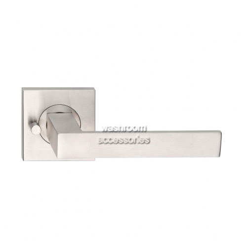 View L100Z Door Handle Square Rose, Pair, Privacy Button details.