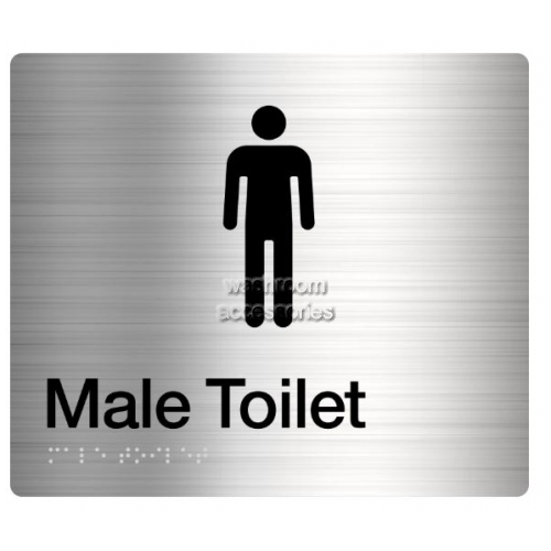 View MT Male Toilet Sign, Braille details.