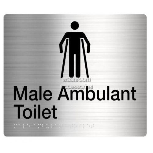 View MAT Male Ambulant Toilet Sign, Braille details.