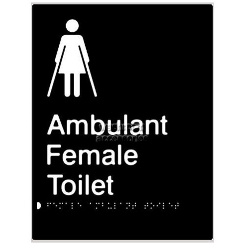 View Female Ambulant Toilet Braille and tactile sign details.