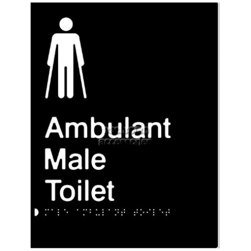 View Male Ambulant Toilet Braille and tactile sign details.
