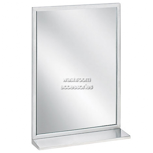 View 7825 Glass Mirror with Shelf, Angle Frame details.