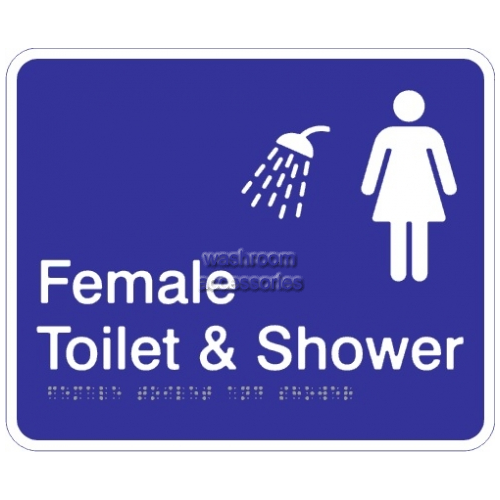 Female Toilet and Shower Acrylic Braille Sign