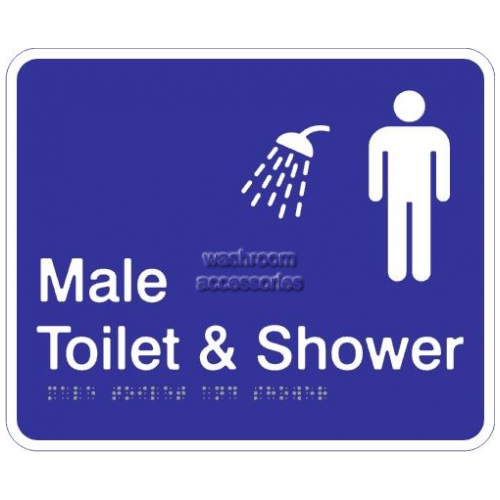 View Male Toilet and Shower Acrylic Braille Sign details.